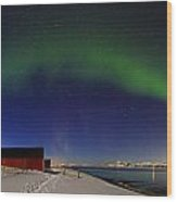 Aurora Borealis Panorama Pan Starrs Wood Print
