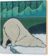 Aurora Borealis Polar Bear Wood Print