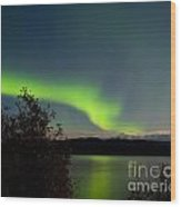 Aurora Borealis Reflected On Lake Laberge Yukon Wood Print