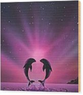 Aurora Borealis with two Dolphins Wood Print