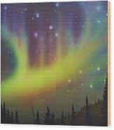 Aurora Borealis Yellow Streak Wood Print