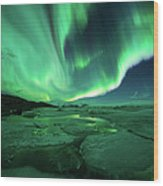 Aurora Display Over The Glacier Lagoon Wood Print