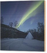 Aurora On A Blue Night Sky Wood Print
