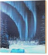 Aurora On The Pond Wood Print