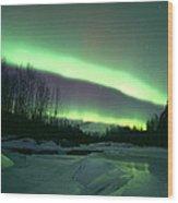 Aurora Over Ice Wood Print