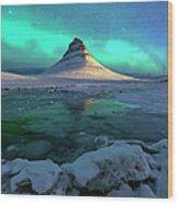 Aurora Over Kirkjufell Mountain Iceland Wood Print