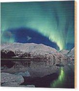 Aurora Over Portage Wood Print