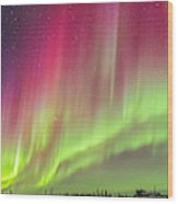 Aurora Panorama Over Northern Studies Wood Print
