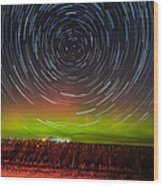 Aurora Startrail  Wood Print