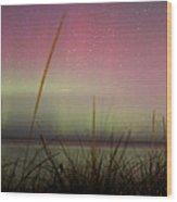 Auroras Over Lake Michigan Wood Print