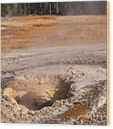 Aurum Geyser In Upper Geyser Basin In Yellowstone National Park Wood Print