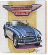 Austin Healey 3000 Blue-white Wood Print