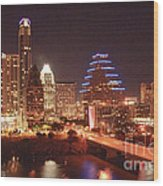 Austin Lights The Night Wood Print by Terry Rowe