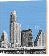 Austin Skyline - Sky Blue Wood Print