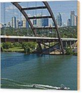 Austin Texas 360 Bridge Vert Wood Print