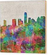 Austin Texas Abstract Panorama 4 Wood Print