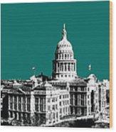 Austin Texas Capital - Sea Green Wood Print