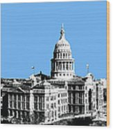 Austin Texas Capital - Sky Blue Wood Print