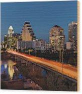 Austin, Texas Cityscape Evening Skyline Wood Print