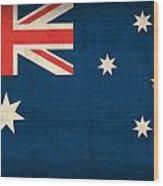 Australia Flag Vintage Distressed Finish Wood Print