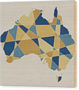 Australia Geometric Retro Map Wood Print