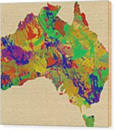 Australia Watercolor   Wood Print