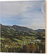 Austrian Autumn Scenic Panorama 2 Wood Print