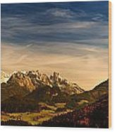 Austrian Autumn Scenic Panorama Wood Print
