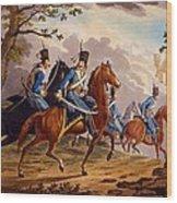 Austrian Hussars In Pursuit Wood Print