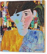 Autism - Child And Mother Wood Print by Carmencita Balagtas