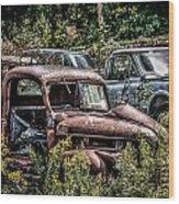 Auto Junk Yard Wood Print