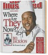 Autographed Sports Illustrated Cover By Bo Jackson Bo Knows Cookin' Wood Print by Desiderata Gallery