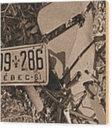 Automobile Graveyard Wood Print