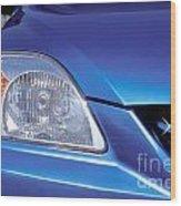 Automobile Head Light Blue Car Wood Print