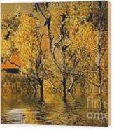 Autum Leaves Wood Print