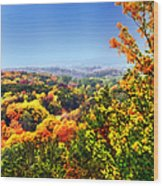 Autumn Across The Hills Wood Print
