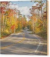 Autumn Afternoon On The Winding Road Wood Print