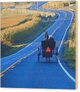 Autumn Amish Buggy Ride Wood Print