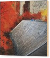 Autumn At Chicago Millennium Park Bp Bridge Mixed Media 03 Wood Print