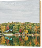 Autumn At The Lake - Pocono Mountains Wood Print by Vivienne Gucwa