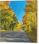 Autumn Back Road Wood Print