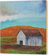 Autumn Barn In Color Wood Print