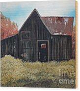 Autumn - Barn -orange Wood Print