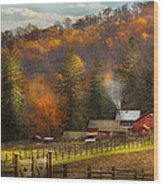 Autumn - Barn - The End Of A Season Wood Print by Mike Savad