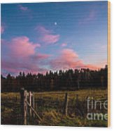Autumn Barnyard Sunset Wood Print