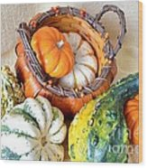 Autumn Basketful Wood Print