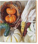 Autumn Basketful With Corn Wood Print