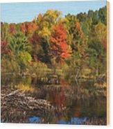 Autumn Beaver Pond Reflections Wood Print