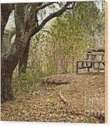 Autumn Bench Wood Print