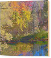 Autumn Beside The Pond Wood Print